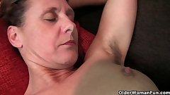 Granny Inge gets fingered up her powerful bushed pussy