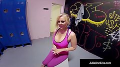 Famed Milf Julia Ann Gets Jizz At Gym With POV BJ Head Cam!