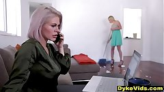 Milf boss hrasses her new assistant - old & young lesbian dealings