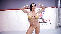 London River fighting Brandi Mae in lesbian wrestling nigh face sitting and a hard strapon fuck