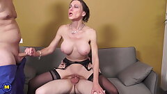 Mature MILF gets two cocks regarding all holes