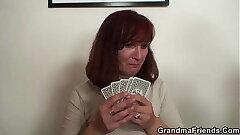 Old redhead grandma rides and sucks cock at same time